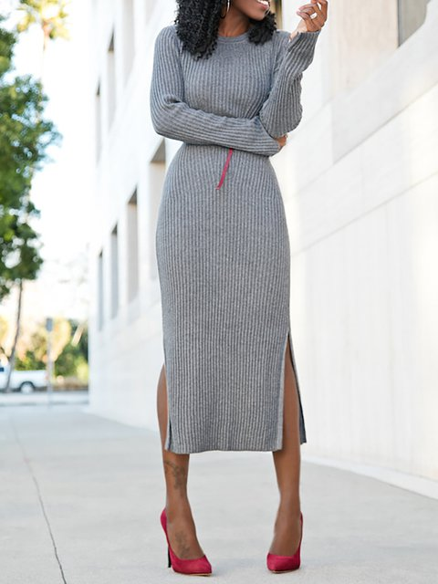 Daily Dress Shift Paneled Women Long Elegant Sleeve Cotton Gray Basic Solid qOwEBE