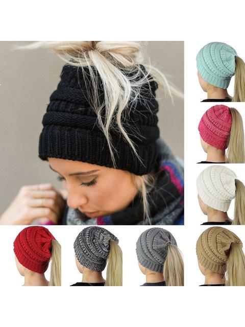 Women's Knitting Wool Earpiece Cap Hats