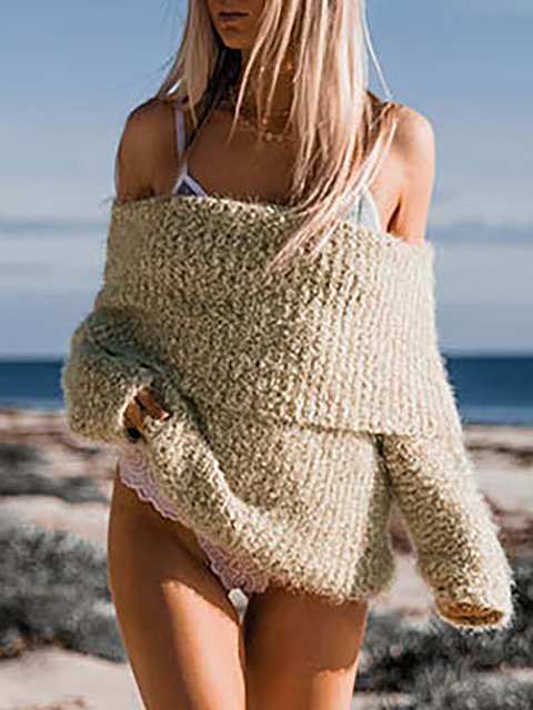 Off Shoulder Solid Paneled Sexy Winter Knitted Wool blend Sweater
