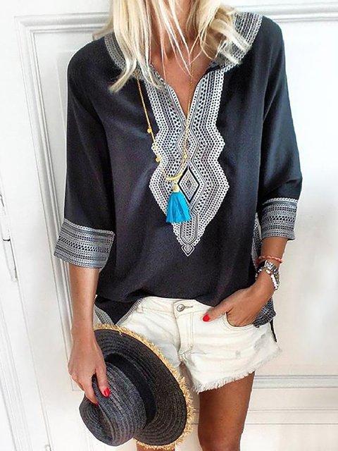 3/4 Sleeve Geometric Cotton V neck Plus Size Blouses