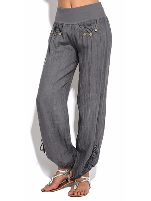 Women Buttoned Cotton Pockets Solid Plus Size Casual Pants