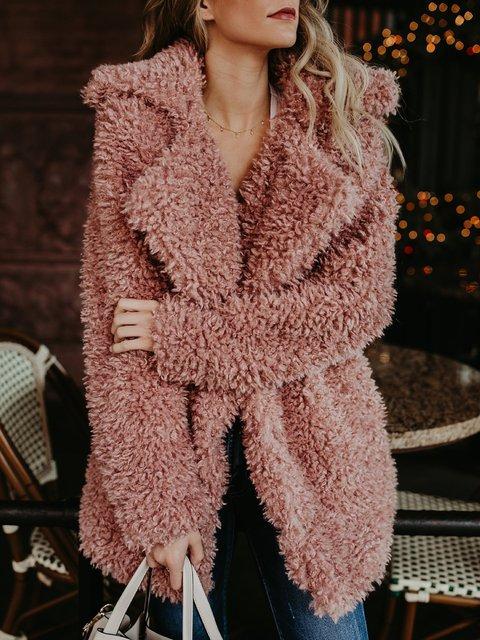 Elegant Pockets Solid Cotton Paneled Winter Faux Fur Coat