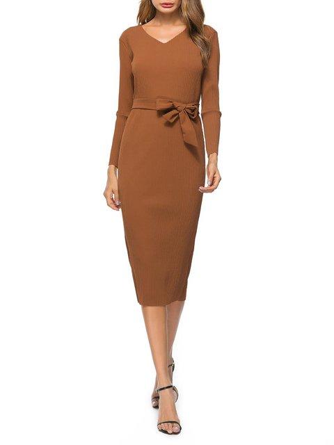 Solid Dress Bodycon Long Sleeve Paneled Daily neck Khaki V Elegant Cotton Women PwnCxzw6qF