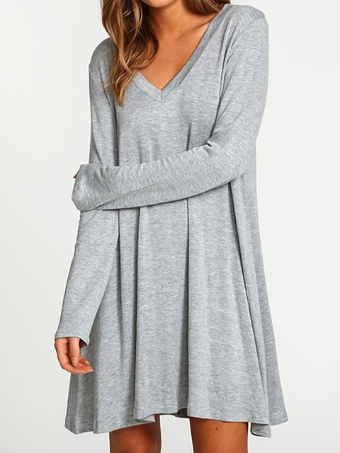Basic Casual V Cotton Women Dress Gray neck Solid Daily Swing Paneled wqXO7A