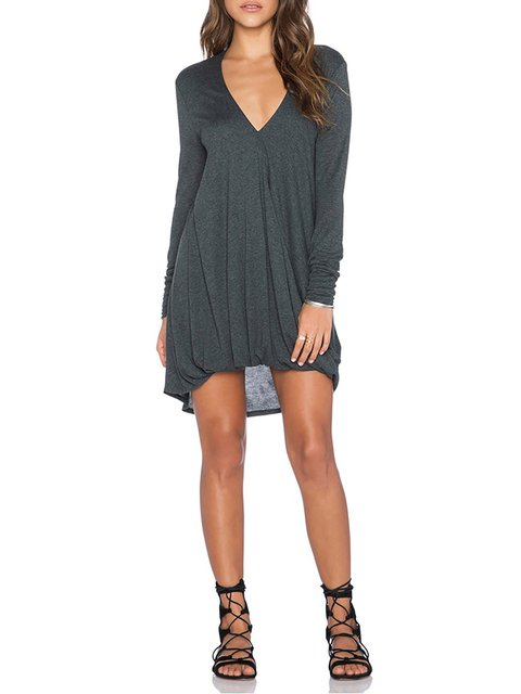 gray Sleeve Dress Cocoon V Cotton neck Long Basic Casual Deep Paneled Women Solid Daily qCZH1wCE