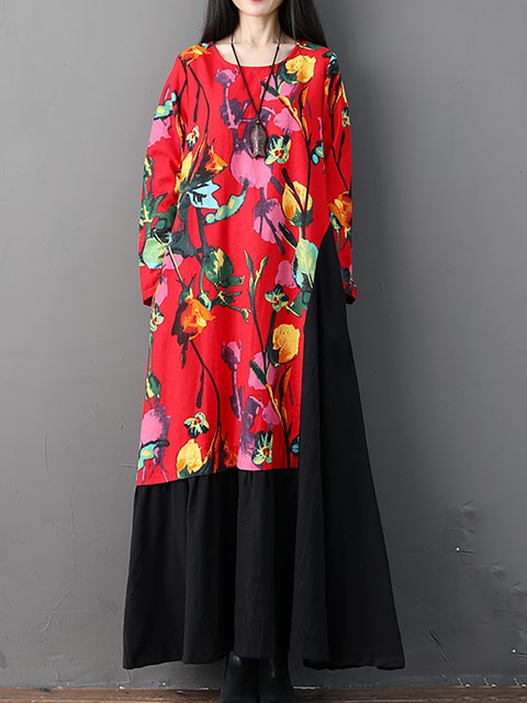 Dress Floral Casual Paneled Daily Linen Women Casual Rvgqx
