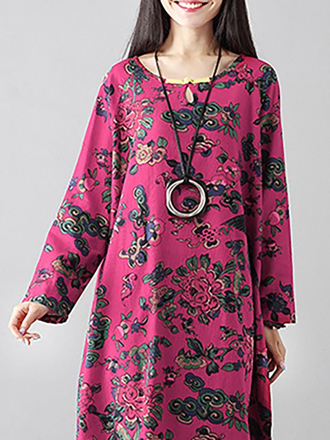 Casual Dress Floral Women Cocoon Sleeve Paneled Cotton Long 4qWFwvO