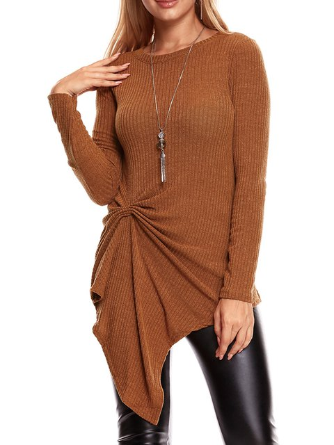 Knitted Crew Neck Casual Cotton Solid Sweater