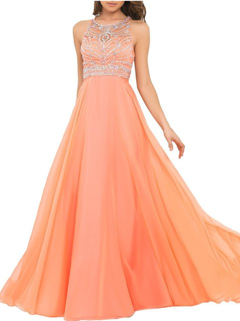 Halter  Swing Women Prom Sleeveless Elegant Chiffon Prom Dress
