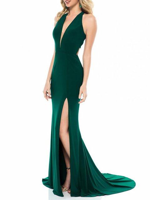 V neck Green Women Daily Sleeveless Elegant Paneled Patchwork Prom Dress