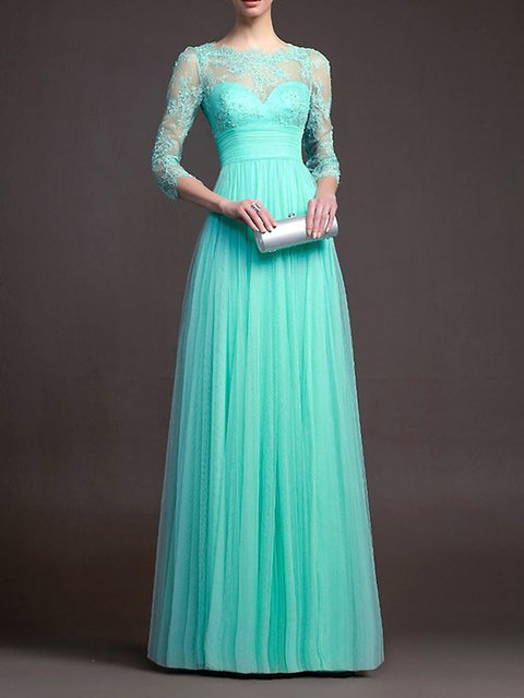 Swing Women Prom Lace Half Sleeve Elegant Paneled Patchwork Prom Dress