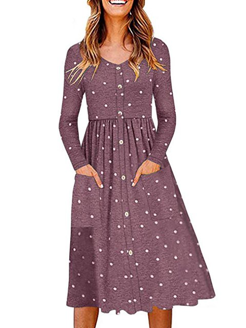 Swing Women Daily Long Sleeve Cotton Casual Polka Dots Spring Dress