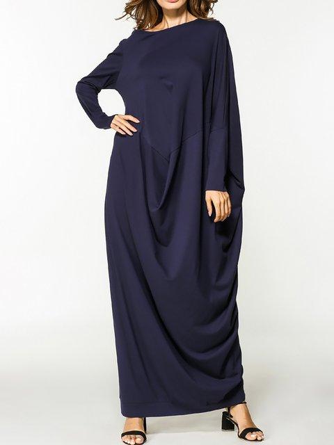 Navy Blue Shift Women Daily Long Sleeve Cotton Paneled Spring Dress
