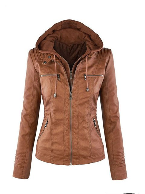 Casual Faux Leather Pockets Hoodie Jackets