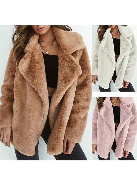 PU Elegant Winter Shawl Collar Wool blend Plus Size Faux Fur Coat