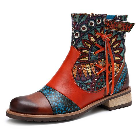 Womens Zipper Daily Genuine Leather Carved Short Boots