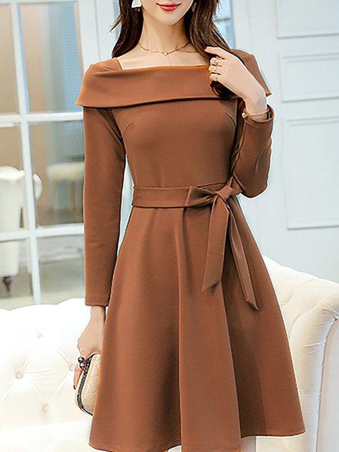 Women Daily Long Sleeve Elegant Paneled Solid Elegant Dress
