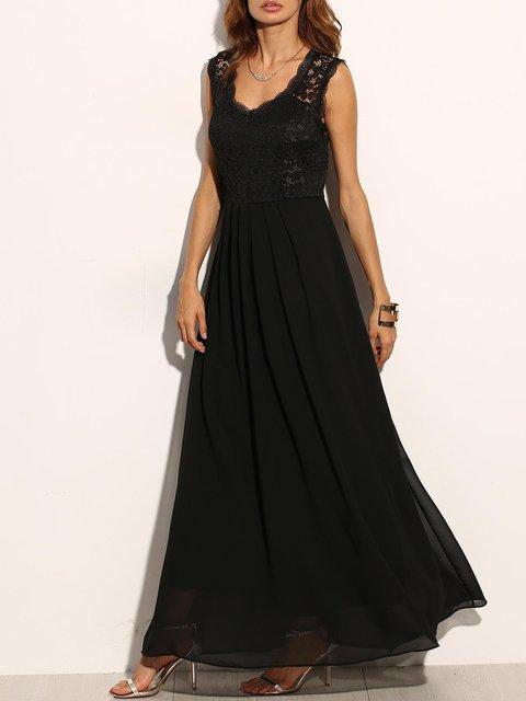 Swing Women Chiffon Elegant Sleeveless Patchwork Prom Dress