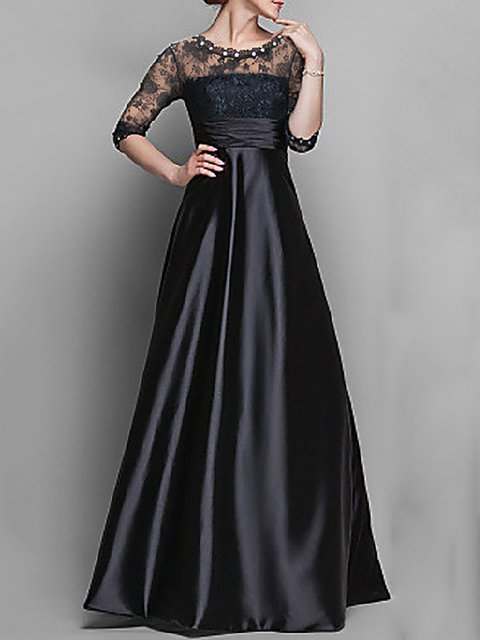 Black Swing Women Party Elegant Half Sleeve Paneled Patchwork Prom Dress