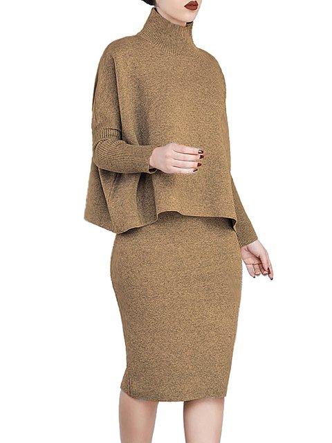 Turtleneck  Two Piece Women Daily Elegant Long Sleeve Elegant Dress