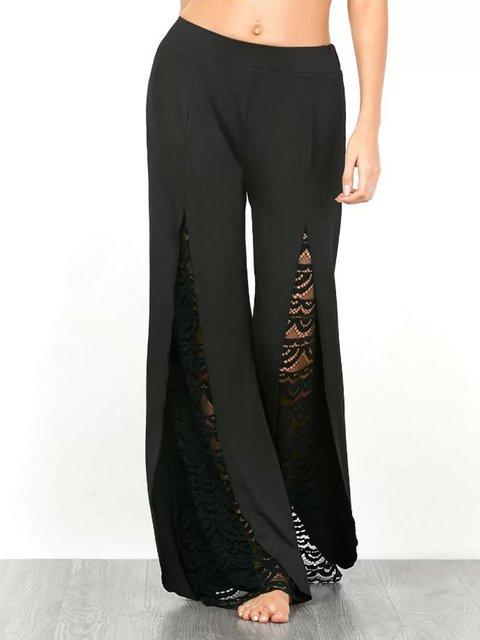 Black Casual Lace Solid High-rise Cotton Plus Size Pants