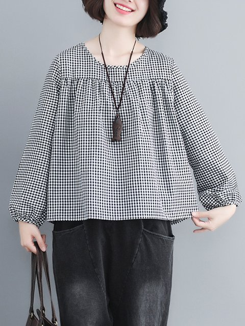 dd1d4b8aa88 Gathered Casual Crew Neck Linen Plus Size Gingham Blouse -  JustFashionNow.com