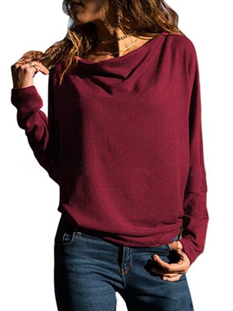 Solid Batwing Basic Cotton Plus Size Round Neck T-Shirt