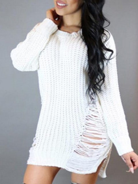 Cotton Casual Ripped Winter Plus Size Knitted Solid Sweater