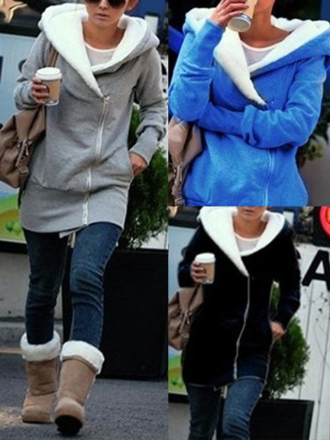 Casual Long Sleeve Hoodie Pockets Zipper Hoody