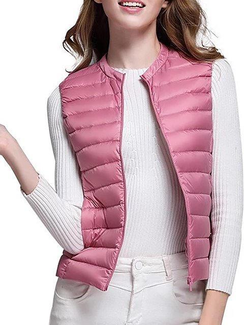 0be14b78567 Solid Velvet Zipper Stand Collar Plus Size Sleeveless Quilted Coat -  JustFashionNow.com