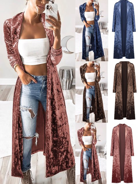 Casual Solid Long Sleeve Velvet Cardigan