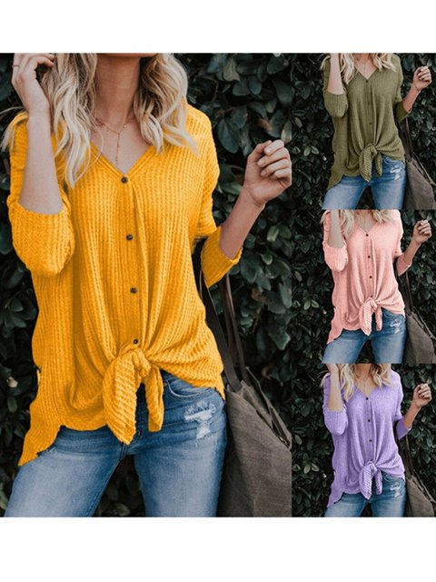 Solid Basic Buttoned Long Sleeve V neck T-Shirt