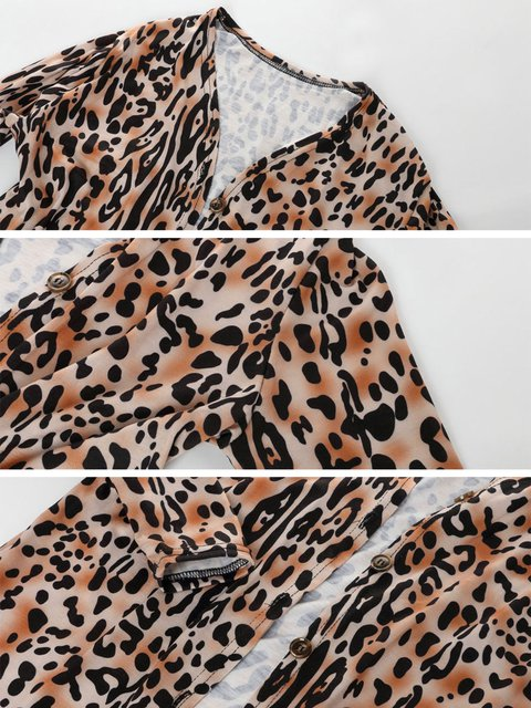 Leopard Print Sleeve Printed Leopard Cardigan Long Knitted UwaUqpr