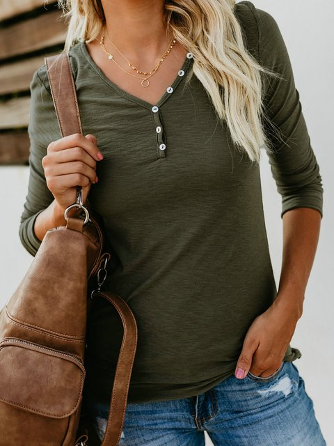 Buttoned Long Sleeve Solid V neck Casual T-Shirt