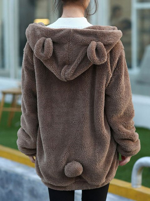 Hoody Casual Sleeve Long Hoodie Solid Pockets Winter x0BUw7PUq
