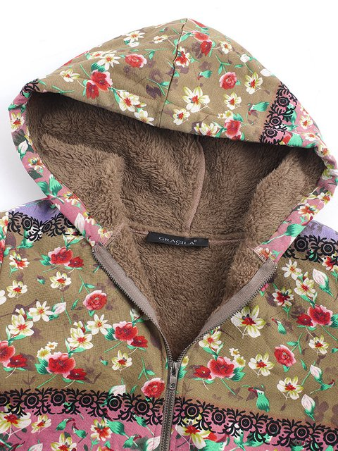 Quilted Patchwork Long Sleeve Size Coat Casual Hoodie Plus Winter ZwZfpq