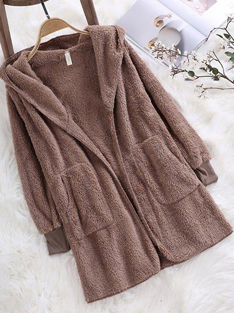 Solid Long Sleeve Casual Hoodie Pockets Winter Plus Size Teddy Bear Coat