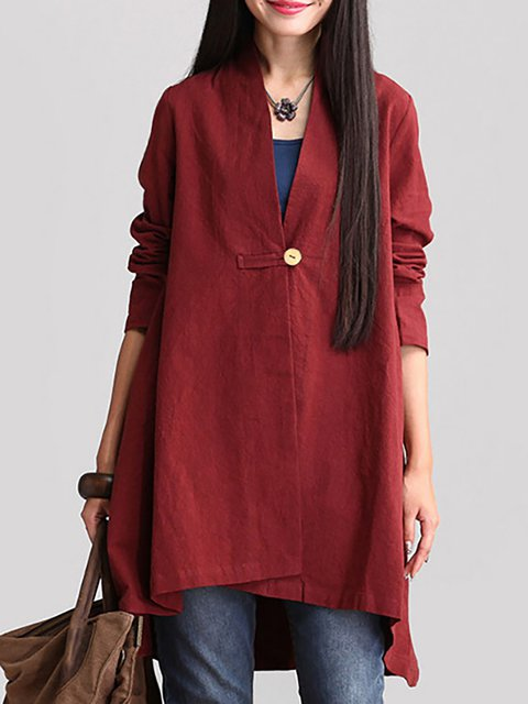 Solid Long Sleeve Buttoned Cotton Casual Plus Size Cardigan