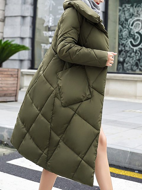 Size Pockets Casual Collar Plus Coat Long Shawl Cotton Sleeve 0pSqg