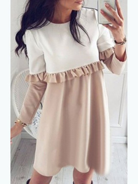 Casual Women Dress Paneled Cotton line A Long Solid Elegant Daily Sleeve UHwznW5qvR