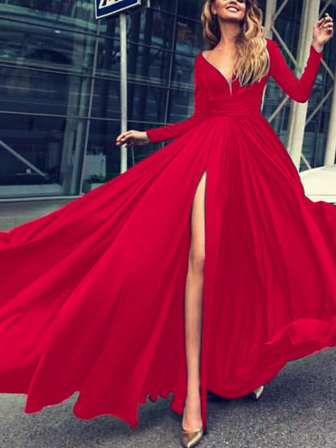V neck Red Swing Women Elegant Long Sleeve Solid Prom Dress