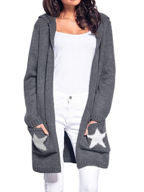 Hoodie Casual Pockets Winter Geometric Cotton Cardigan
