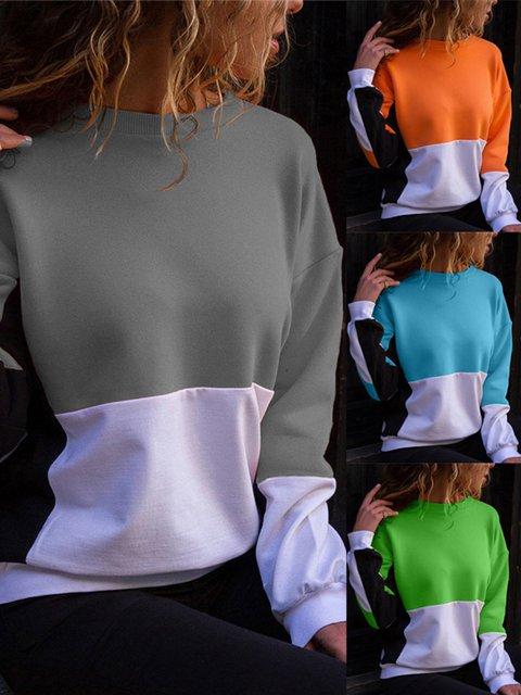 Casual Color-block Solid Cotton Crew Neck Sweatshirt