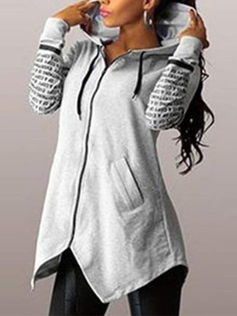 Zipper Casual Letter Pockets Paneled Hoodie