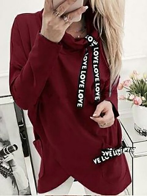 Casual Alphabetical Tape Thin Hoodies