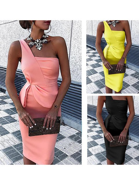 One Shoulder  Bodycon Women Daily Elegant Sleeveless Paneled Solid Prom Dress