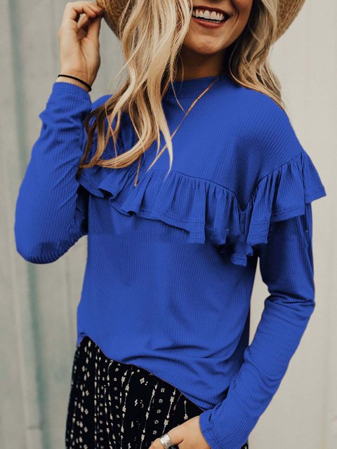 Round Neck Cotton Solid Basic Ruffled T-Shirt