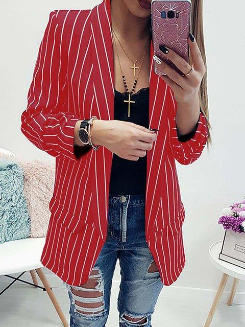 Cotton Elegant Lapel Printed/Dyed Winter Striped Blazer