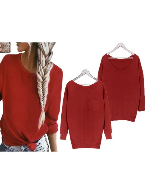 Long Sleeve Pockets Knitted Crew Neck Solid Sweater