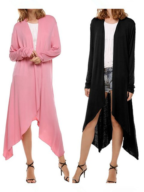 Long Sleeve Solid color jersy Casual Coat